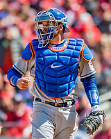 5 April 2018: New York Mets catcher Kevin Plawecki in action against the Washington Nationals during the Nationals' Home Opener at Nationals Park in Washington, DC. The Mets defeated the Nationals 8-2 in the first game of their 3-game series. Mandatory Credit: Ed Wolfstein Photo *** RAW (NEF) Image File Available ***