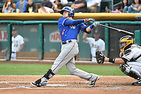 Ryan Rua (12) of the Round Rock Express at bat against the Salt Lake Bees in Pacific Coast League action at Smith's Ballpark on August 21, 2014 in Salt Lake City, Utah.  (Stephen Smith/Four Seam Images)