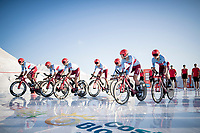 Team Katusha-Alpecin on their way to the stage start at the salt lake (factory) in Torrevieja <br /> <br /> Stage 1 (TTT): Salinas de Torrevieja to Torrevieja (13.4km)<br /> La Vuelta 2019<br /> <br /> ©kramon