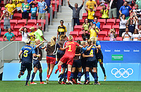Brasilia, Brazil - Friday, August 12, 2016: Sweden defeats the U.S. Women's National team in PK's 4-3 to advance on to the Semifinals during the 2016 Olympics at Mane Garrincha Stadium.