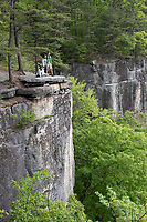 New River Gorge National Park, West Virginia.  Family Admiring View along the Endless Wall Trail.