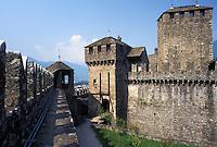 castle, Switzerland, Ticino, Bellinzona, Castello di Montebello a medieval castle in the village of Bellinzona.