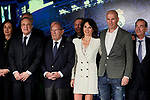Florentio Perez, Veronique Zidane and Zinedine Zidane during the press conference of the official presentation of Zinedine Zidane as new Manager of Real Madrid at Santiago Bernabeu Stadium in Madrid, Spain. March 11, 2019. (ALTERPHOTOS/A. Perez Meca)