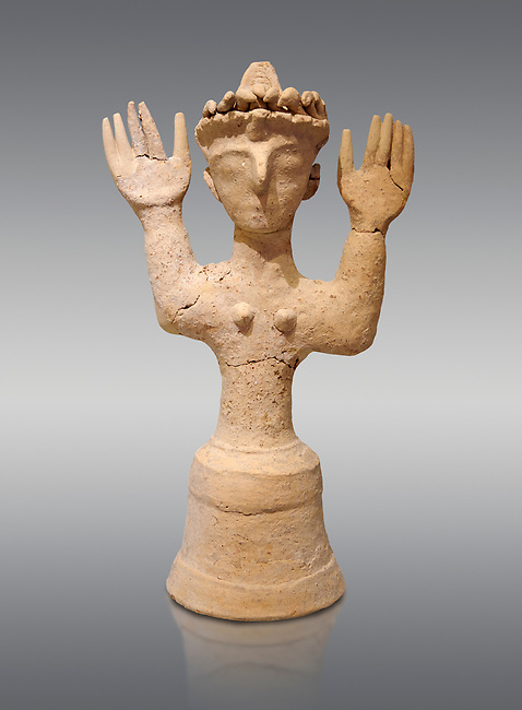 Minoan Postpalatial terracotta  goddess statue with raised arms and a crown of snakes, Kannia Sanctuary,  Gortys, 1350-1250 BC, Heraklion Archaeological Museum, grey background. <br /> <br /> The Goddesses are crowned with symbols of earth and sky in the shapes of snakes and birds, describing attributes of the goddess as protector of nature.