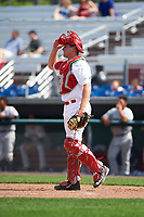 Auburn Doubledays catcher Nic Perkins (43) during the second game of a doubleheader against the Mahoning Valley Scrappers on July 2, 2017 at Falcon Park in Auburn, New York.  Mahoning Valley defeated Auburn 3-2.  (Mike Janes/Four Seam Images)