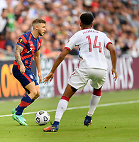AUSTIN, TX - JULY 29: Paul Arriola #7 of the United States looks to pass the ball during a game between Qatar and USMNT at Q2 Stadium on July 29, 2021 in Austin, Texas.