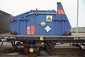 A train carries low level nuclear waste from Sellafield nuclear reprocessing plant in Cumbria.