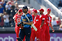 17th July 2021; Emirates Old Trafford, Manchester, Lancashire, England; T20 Vitality Blast Cricket, Lancashire Lightning versus Yorkshire Vikings; Adam Lyth of Yorkshire Vikings leaves the wicket caught behind in the second over for just 8