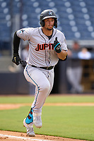 Jupiter Hammerheads Joe Dunand (23) runs to first base during a game against the Tampa Tarpons on July 2, 2021 at George M. Steinbrenner Field in Tampa, Florida.  (Mike Janes/Four Seam Images)