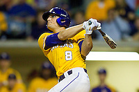 Mikie Mahtook #8 of the LSU Tigers connects on the first of his two home runs on the night against the Wake Forest Demon Deacons at Alex Box Stadium on February 18, 2011 in Baton Rouge, Louisiana.  The Tigers defeated the Demon Deacons 15-4.  Photo by Brian Westerholt / Four Seam Images