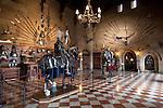 United Kingdom, England, Warwickshire, Warwick: Medieval military exhibits inside the Great Hall