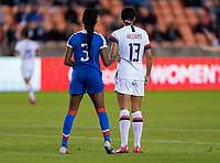 HOUSTON, TX - JANUARY 28: Chelsea Surpris #3 of Haiti stands next to Lynn Williams #13 of the United States during a game between Haiti and USWNT at BBVA Stadium on January 28, 2020 in Houston, Texas.