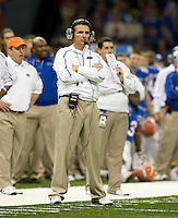 01 January 2010:  Florida head coach Urban Meyer eyes on the game during the game against Cincinnati during Sugar Bowl at the SuperDome in New Orleans, Louisiana.  Florida defeated Cincinnati, 51-24.