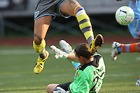 Sky Blue goalkeeper, Jenni Branam (23) stuffs a scoring attempt by Philadelphia forward, Natasha Kai (00).   Philadelphia forward, Lianne Sanderson (10) scored in the 90th minute to secure a 2-1 victory for the Independence, in their August 7th game vs Sky Blue at Widener University in Chester, PA