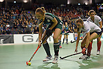 Berlin, Germany, February 01: Katharina Windfeder #8 of HTC Uhlenhorst Muehlheim controls the ball during the 1. Bundesliga Damen Hallensaison 2014/15 final hockey match between Duesseldorfer HC (white) and HTC Uhlenhorst Muehlheim (green) on February 1, 2015 at the Final Four tournament at Max-Schmeling-Halle in Berlin, Germany. Final score 4-1 (1-0). (Photo by Dirk Markgraf / www.265-images.com) *** Local caption ***