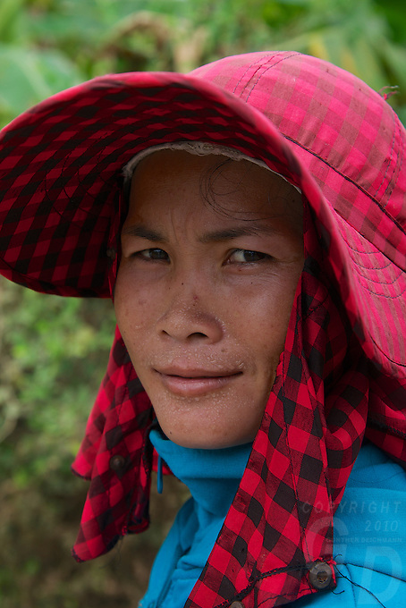 Local Khmer women on Silk Island outside Phnom Penh, Cambodia. Home of the traditional Khmer Silk production