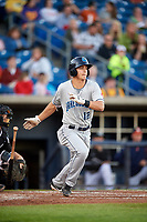 Lake County Captains shortstop Luke Wakamatsu (12) follows through on a swing during a game against the Quad Cities River Bandits on May 6, 2017 at Modern Woodmen Park in Davenport, Iowa.  Lake County defeated Quad Cities 13-3.  (Mike Janes/Four Seam Images)