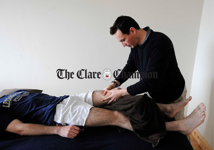Leon Raath at work in physio Zone at Ozone. Photograph by John Kelly.