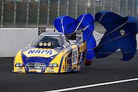 Feb 9, 2014; Pomona, CA, USA; NHRA funny car driver Ron Capps during the Winternationals at Auto Club Raceway at Pomona. Mandatory Credit: Mark J. Rebilas-