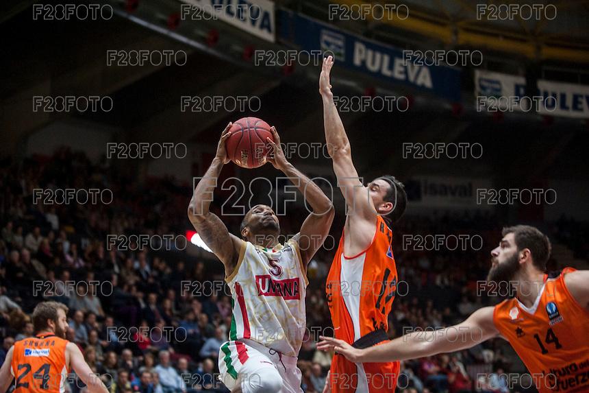 VALENCIA, SPAIN - NOVEMBER 3: Phillip Goss, Rafa Martinez during EUROCUP match between Valencia Basket Club and CAI Zaragozaat Fonteta Stadium on November 3, 2015 in Valencia, Spain