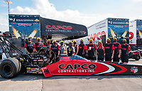 Aug 9, 2020; Clermont, Indiana, USA; NHRA top fuel driver Steve Torrence celebrates with crew after winning the Indy Nationals at Lucas Oil Raceway. Mandatory Credit: Mark J. Rebilas-USA TODAY Sports
