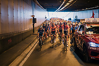 peloton rolling in a Brussels tunnel on their way to the actual start<br /> <br /> 98th Brussels Cycling Classic 2018<br /> One Day Race:  Brussels > Brussels (201km)