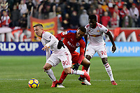 Harrison, NJ - Thursday March 01, 2018: Marc Rzatkowski, Carlos Will Mejía. The New York Red Bulls defeated C.D. Olimpia 2-0 (3-1 on aggregate) during a 2018 CONCACAF Champions League Round of 16 match at Red Bull Arena.