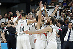 Real Madrid's Gustavo Ayon, Andres Nocioni, Sergio Llull and Sergio Rodriguez celebrate the victory in the Euroleague Final Match. May 15,2015. (ALTERPHOTOS/Acero)