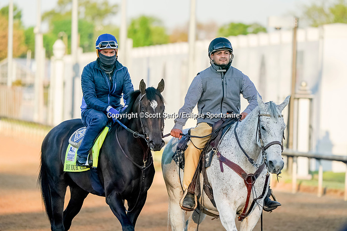 April 27, 2021: Rock Your World, trained by trainer John Sadler, exercises in preparation for the Kentucky Derby at Churchill Downs on April 27, 2021 in Louisville, Kentucky. Scott Serio/Eclipse Sportswire/CSM
