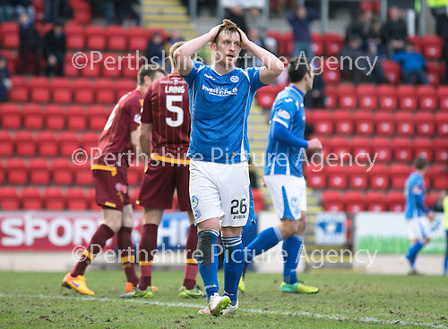 St Johnstone v Motherwell…20.02.16   SPFL   McDiarmid Park, Perth<br />Liam Craig reacts to his missed chance<br />Picture by Graeme Hart.<br />Copyright Perthshire Picture Agency<br />Tel: 01738 623350  Mobile: 07990 594431