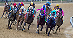 May 18, 2019 : War of Will #1 (far inside, black cap), ridden by Tyler Gaffalione, moves up along the rail on the turn for home and is propelled to a win the Preakness Stakes on Preakness Day at Pimlico Race Course in Baltimore, Maryland. Scott Serio/Eclipse Sportswire/CSM