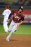 Frisco RoughRiders second baseman Luis Mendez (2) running the bases during a game against the Springfield Cardinals on June 3, 2015 at Hammons Field in Springfield, Missouri.  Springfield defeated Frisco 7-2.  (Mike Janes/Four Seam Images)