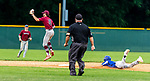 WATERBURY, CT 071221JS16 Brass City Bombers' John Greene (8) gets the throw as Wallingford Silver Storms' Gianni Fanelli (5) slides into second base with a double during their Connecticut Collegiate Baseball League game Monday at Municipal Stadium in Waterbury. <br />  Jim Shannon Republican American