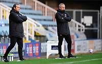 Blackpool's assistant head coach Colin Calderwood, left, and Blackpool manager Neil Critchley<br /> <br /> Photographer Chris Vaughan/CameraSport<br /> <br /> The EFL Sky Bet League One - Peterborough United v Blackpool - Saturday 21st November 2020 - London Road Stadium - Peterborough<br /> <br /> World Copyright © 2020 CameraSport. All rights reserved. 43 Linden Ave. Countesthorpe. Leicester. England. LE8 5PG - Tel: +44 (0) 116 277 4147 - admin@camerasport.com - www.camerasport.com