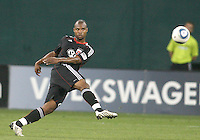 Julius James #2 of D.C. United boots the ball upfield during an MLS match against the Houston Dynamo at RFK Stadium in Washington D.C. on September  25 2010. Houston won 3-1.