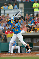 Myrtle Beach Pelicans outfielder Kevonte Mitchell (25) at bat during a game against the Winston Salem Dash at Ticketreturn.com Field at Pelicans Ballpark on July 22, 2018 in Myrtle Beach, South Carolina. Winston-Salem defeated Myrtle Beach 7-2. (Robert Gurganus/Four Seam Images)