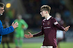 St Johnstone v Hearts…23.12.17…  McDiarmid Park…  SPFL<br />Craig Levein with Harry Cochrane after he had been shown a red card<br />Picture by Graeme Hart. <br />Copyright Perthshire Picture Agency<br />Tel: 01738 623350  Mobile: 07990 594431