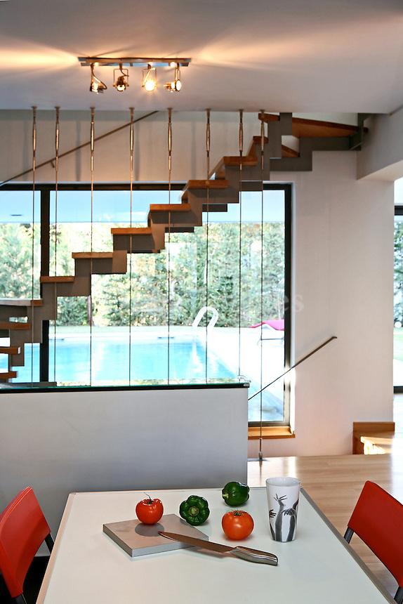 modern contemporary wooden staircase