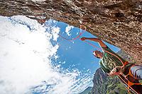 'Armagedon' 7c+, Des Plomelandia sector,<br /> Las Chilcas, Chile<br /> Climbers: Carlos Lastra, Tomas Contreras