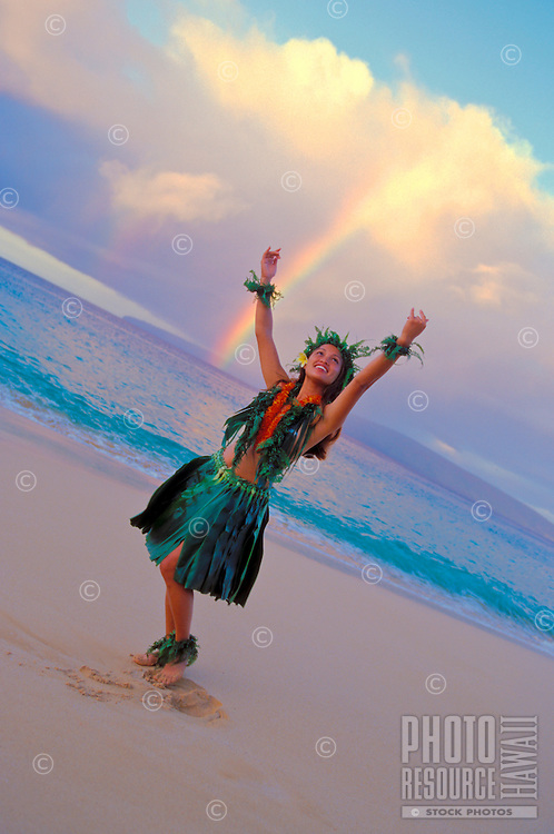 Hula dancer with rainbow at Makena, Maui.