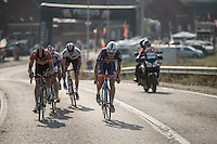 with less then 3km to go, Mark Mcnally (GBR/Wanty-GroupeGobert) puts a last effort in to try & keep out of reach of the chasing peloton <br /> <br /> 12th Eneco Tour 2016 (UCI World Tour)<br /> stage 3: Blankenberge-Ardooie (182km)