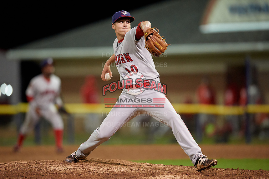 Auburn Doubledays relief pitcher Jared Brasher (10) delivers a pitch during a game against the Batavia Muckdogs on September 6, 2017 at Dwyer Stadium in Batavia, New York.  Auburn defeated Batavia 6-3.  (Mike Janes/Four Seam Images)