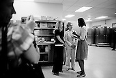 Denver, Colorado.August 26, 2008..Michelle Obama greets Senator Hillary Clinton and her daughter Chelsea backstage at the Sheraton Hotel in downtown Denver. Both addressed a Emily's List Gala reception in the hotel.
