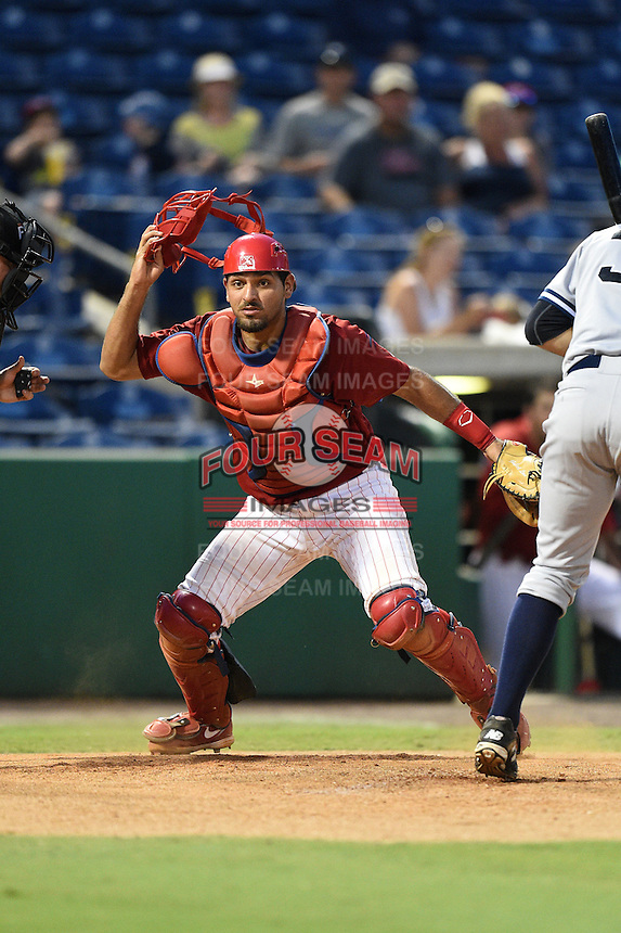 Clearwater Threshers catcher Gabriel Lino (40) looks for a pitch in the dirt during a game against the Tampa Yankees on June 26, 2014 at Bright House Field in Clearwater, Florida.  Clearwater defeated Tampa 4-3.  (Mike Janes/Four Seam Images)