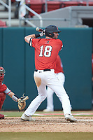 Jake Farrell (18) of the Northeastern Huskies at bat against the North Carolina State Wolfpack at Doak Field at Dail Park on June 2, 2018 in Raleigh, North Carolina. The Wolfpack defeated the Huskies 9-2. (Brian Westerholt/Four Seam Images)
