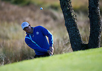26.09.2014. Gleneagles, Auchterarder, Perthshire, Scotland.  The Ryder Cup.  Team Europe's Rory McIlroy chip on the fifth hole during the Friday Fourballs.
