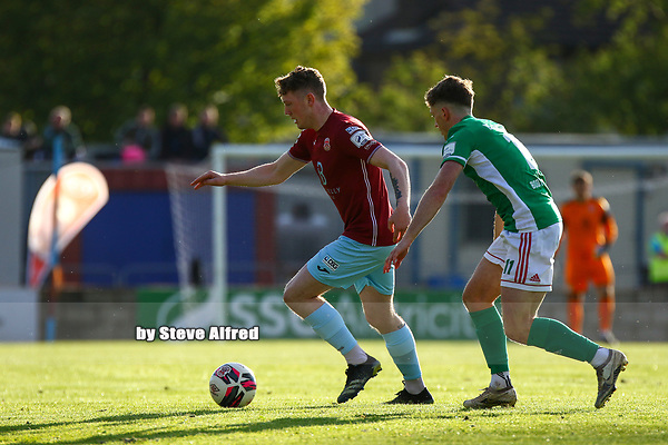 Killian Cooper of Cobh Ramblers with Cian Bargary of Cork City.<br /> <br /> Cobh Ramblers v Cork City, SSE Airtricity League Division 1, 28/5/21, St. Colman's Park, Cobh.<br /> <br /> Copyright Steve Alfred 2021.