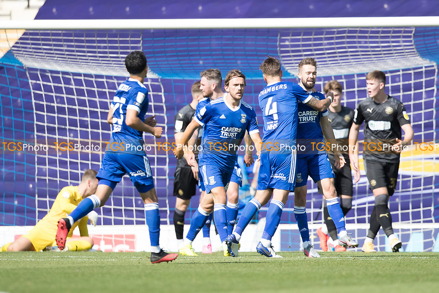 Luke Chambers of Ipswich Town quick to congratulate goalscorer Gwion Edwards of Ipswich Town during Ipswich Town vs Wigan Athletic, Sky Bet EFL League 1 Football at Portman Road on 13th September 2020