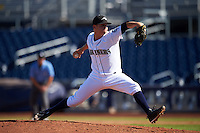 Peoria Javelinas pitcher Emilio Pagan (56), of the Seattle Mariners organization, during a game against the Mesa Solar Sox on October 19, 2016 at Peoria Stadium in Peoria, Arizona.  Peoria defeated Mesa 2-1.  (Mike Janes/Four Seam Images)