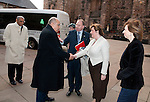 Fiona Hyslop, Cabient Secretary for Culture and External Affairs greets Dr. Adel Babesail (League of Arab States) on his arrival at Edinburgh Castle for a reception and dinner hosted by Alex Salmond First Minister of Scotland..Pic Kenny Smith, Kenny Smith Photography.6 Bluebell Grove, Kelty, Fife, KY4 0GX .Tel 07809 450119,